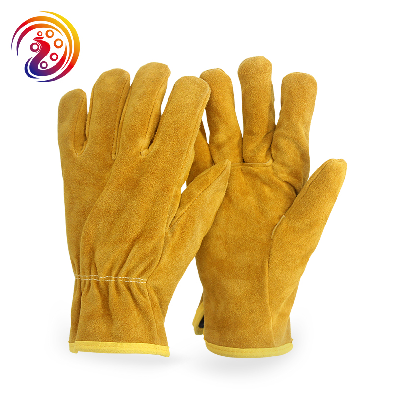 цена на Working Gloves Cow Split Leather Factory Driving Gardening Welding Work Gloves HY011 By OLSON DEEPAK