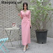 Женское длинное платье с поясом повседневное вечернее средней