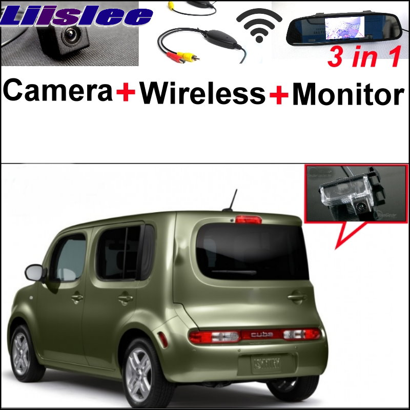 Liislee 3 in1 Special Camera + Wireless Receiver + Mirror Monitor Easy DIY Backup Parking System For NISSAN Cube Z12 2008~2017 цена