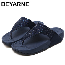 BEYARNEWomenshoes SummerFashion אמיתי עור אישה החלקה כפכפים טריזי סנדלי FemalePlatform BeachShoes משלוח חינם