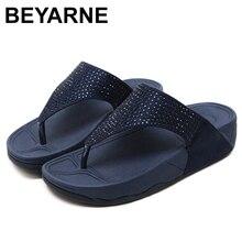 BEYARNEWomenshoes SummerFashion hakiki deri kadın kaymaz Flip flop takozlar sandalet FemalePlatform BeachShoes ücretsiz kargo