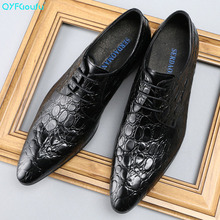 QYFCIOUFU Pointed Toe Italian Genuine Leather Shoes Men Alligator Pattern Dress Shoes Lace-up Men's Wedding Shoes Formal Shoes british style zebra genuine leather alligator shoes for men pointed toe dress wedding crocodile skin shoes italian formal loafer