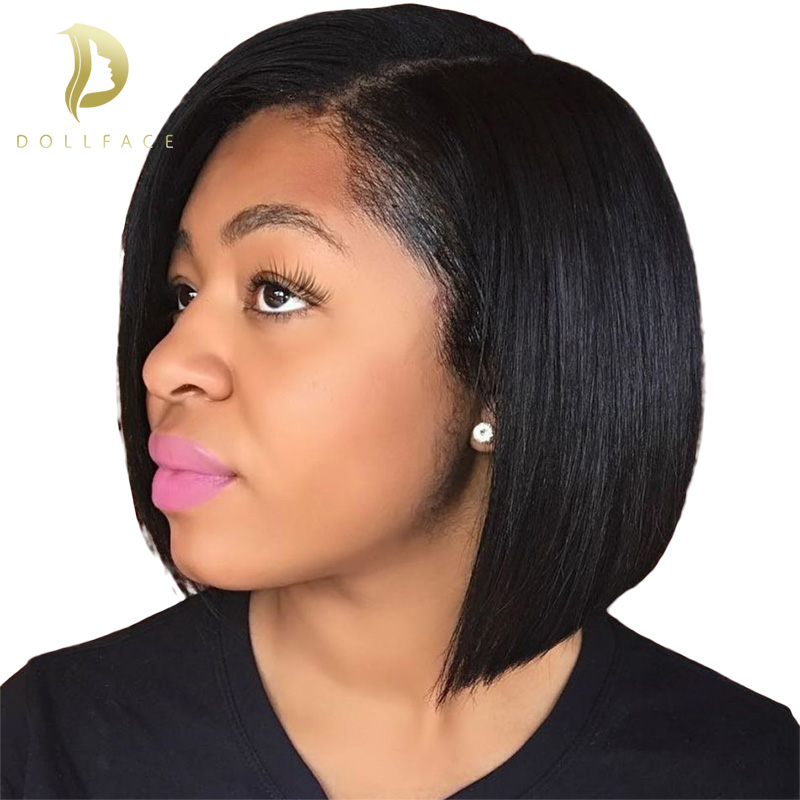 Short Lace Front Human Hair Wigs Bob Wig Full And Thick For Black Women Natural Color Brazilian Remy Hair Pre Plucked Wig(China)