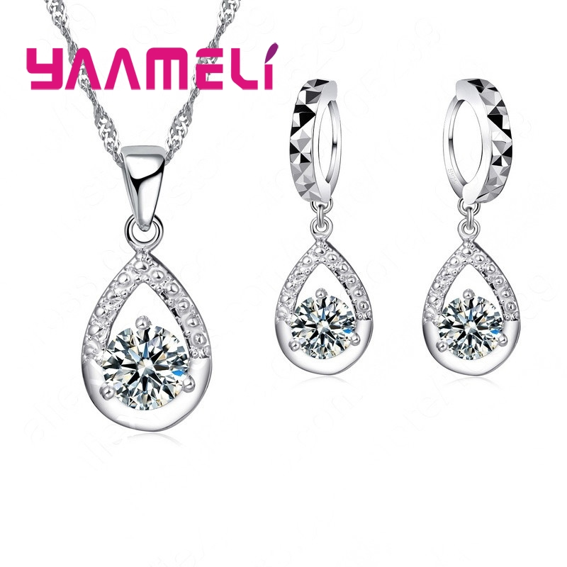 Hot Sale 925 Sterling Silver Jewelry Gift Set Shining Cubic Zircon CZ Crystal Water Drop Pendant Necklace Earrings Chain