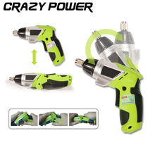 CRAZY POWER 3.6V Electric Battery Power Screwdriver Foldable Adjustable Cordless Screwdriver Drill Household DIY With LED AT2188