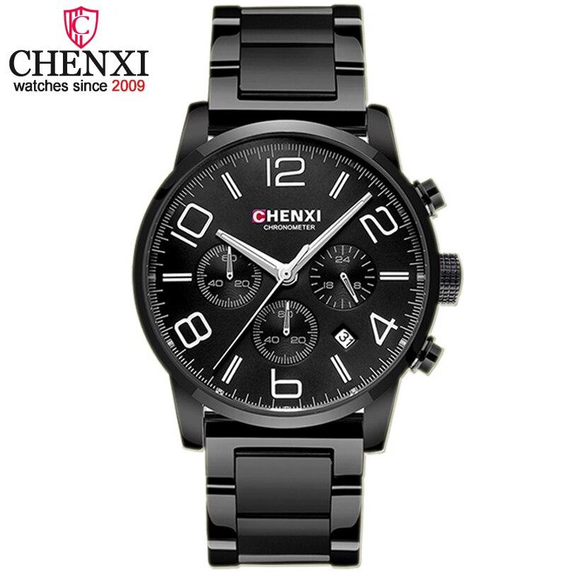 CHENXI Chronograph Casual Watch Men Luxury Brand Quartz Military Outdoor Sport Watches Golden Black Steel Strap Men's Wristwatch chenxi steel strap tachymeter quartz watch