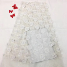 High Quality White 3D Flower Nigerian Net lace fabric 5 Yards Hot Selling African For Wedding Dress HX1095-2