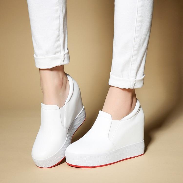 Vache Hauteur Cuir Mujer Noir Casual Talons Mode Marque Haute Creepers Plate Zapatos Augmentation Zorssar De Cales Femmes rouge Chaussures En La forme Slip blanc Sur w1XzqxB0nP