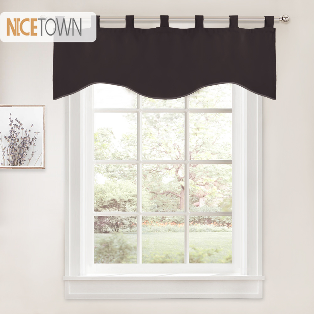 NICETOWN Blackout Scalloped Valances Curtain Tab Top Short ...