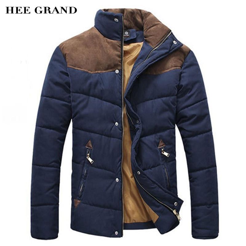 HEE GRAND 2018 Vente Chaude Hommes D'hiver Épissage Coton Rembourré Manteau Veste D'hiver Taille M-XXL Parkas Haute Qualité MWM169
