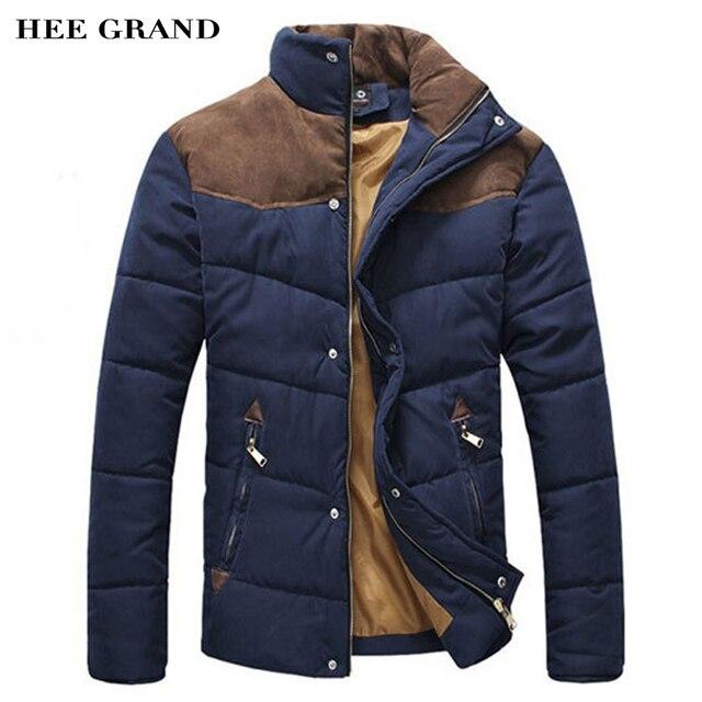 Hee Grand/2017 Лидер продаж Для мужчин зимние сращивание хлопок-ватник зимняя куртка Размеры M-XXL Мужские парки высокое качество MWM169