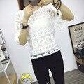 2016 новые прибытия цветок Кружева Топ Корейской версии нового кружева шифона рубашка свободные большие ярдов с коротким рукавом рукава рубашки