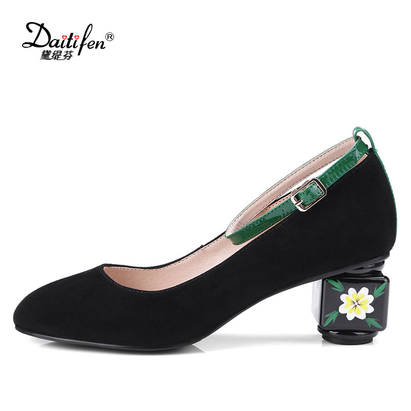 Daitifen New arrival Kid suede women shoes Beautiful Strange Style high heel with printing Pumps Party lady soft buckle shoes geparlys beautiful lady
