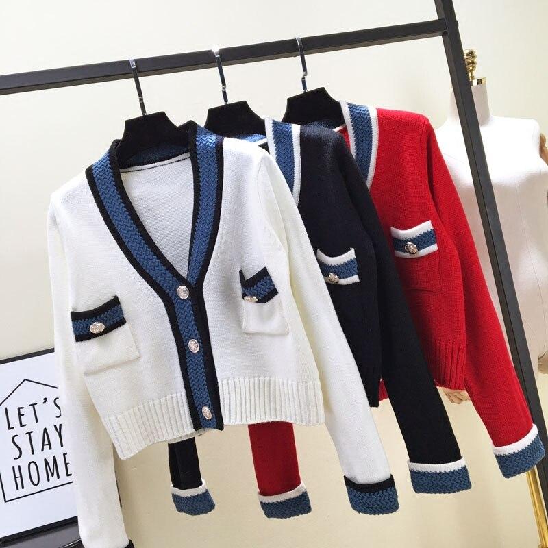 2018 édition coréenne femmes mode collège vent mélange couleur poche tricoté cardigan femme tempérament rayé chandail