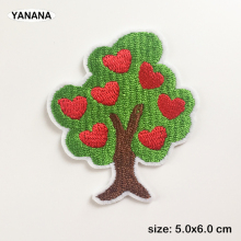 Love Tree Apple Green trees  Badges Embroidered Stickers Iron on for Jacket Jeans Decoration DIY