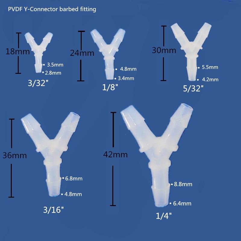 """Купить с кэшбэком PVDF Barbed Y connector Y tubing connector Three-way connector hose fitting ozone resistance Size 3/32"""",1/8"""",5/32"""",3/16"""",1/4"""""""