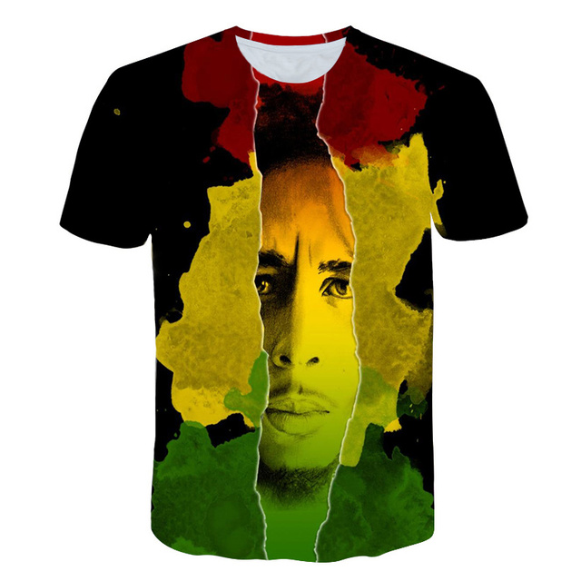 Famous Singer Rap Hip hop T-shirts Reggae originator Bob Marley 3d print Men Women casual O-Neck t shirt