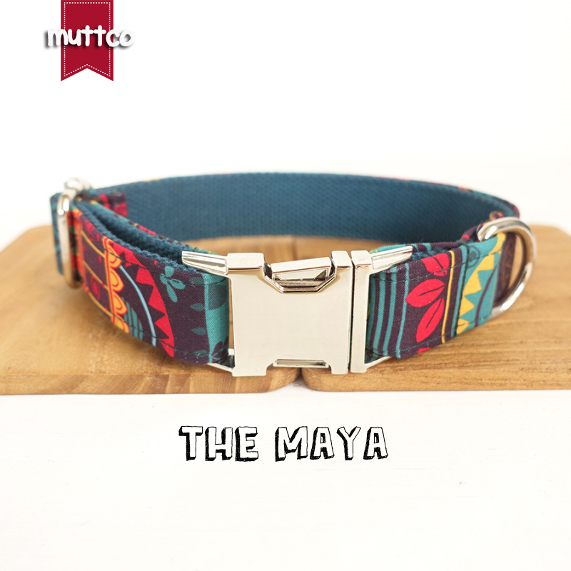 20pcs/lot MUTTCO wholesale ethnic style coloful handmake soft collars THE MAYA self-created dog collar and leash 5sizes UDC043