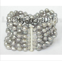 8 6row 9mm baroque Gray pearls bracelet bangle magnet clasp j8830 @^Noble style Natural Fine jewe FREE SHIPPING