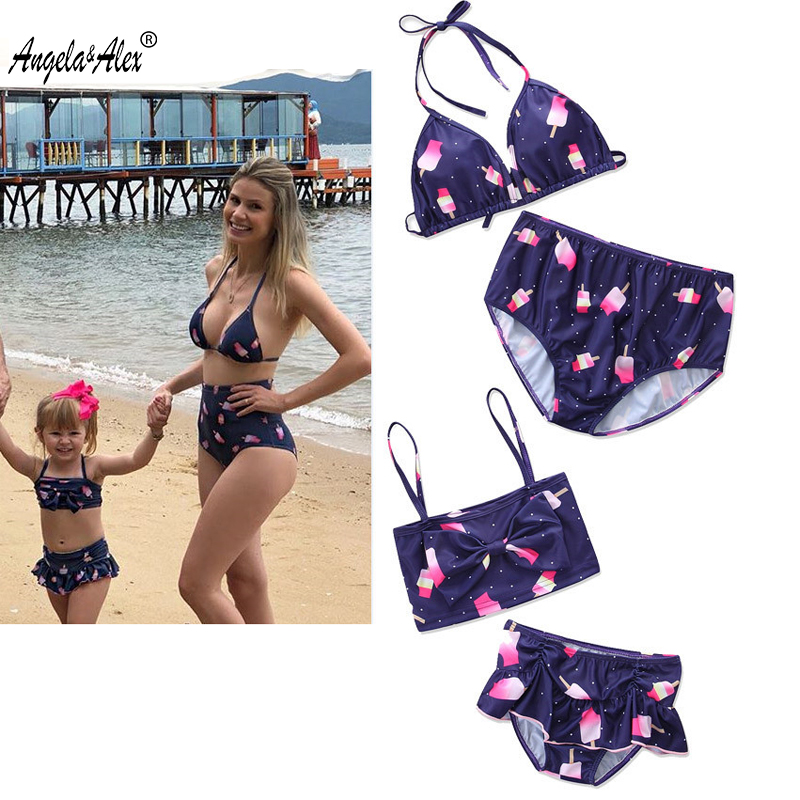 Angela&Alex Family Matching Summer Clothes Mother and Daughter Bikni Clothes Set Mommy and Me Swimwear Bikini 2018 Family Look