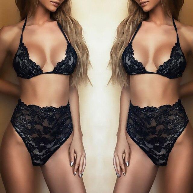 6ba2772a5cce4 Fashion Transparent Bkini Bra Set For Women Black Lace Floral Deep V Bras  And High Waist