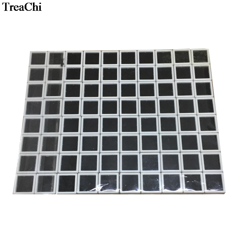 80Pcs White Plastic Square Loose Diamond Display Package Box Gem Case Black Foam Pad Beads Pendant