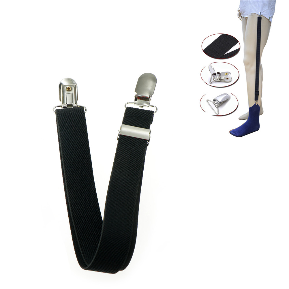 1pc Elastic Uniform Business Style Suspender Shirt Garters Men Shirt Stays Holder Military Straight Stirrup Suspenders