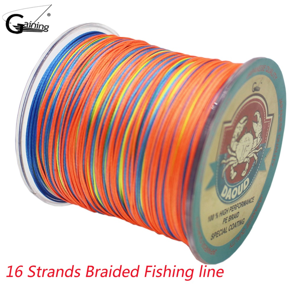 Gaining Braided Fishing Line 16 Strands 500M Multi Color Super Strong Japan Multifilament PE Braid Line