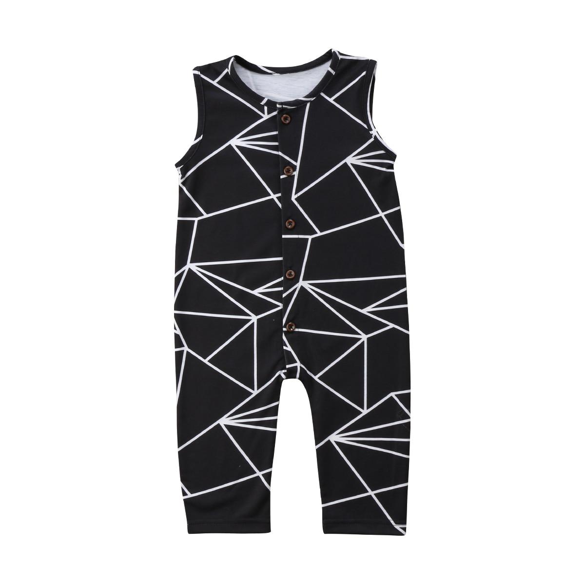 Для новорожденных детская одежда для мальчиков и девочек Геометрия комбинезон без рукавов одежда для малышей комплект одежды 0-24 м