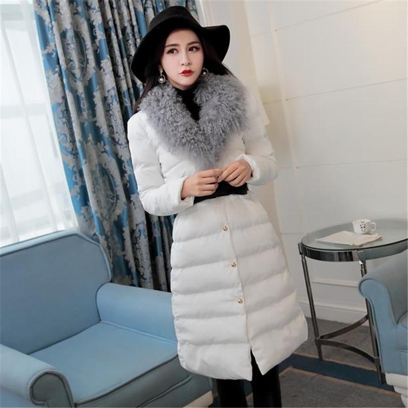 Winter Jacket Women 2017 New Fashion Long Parka Coat with Fur Collar Clothing Black White Khaki dilong pu401 usb 2 0 wired pc game pad shocks joystick black 168cm cable