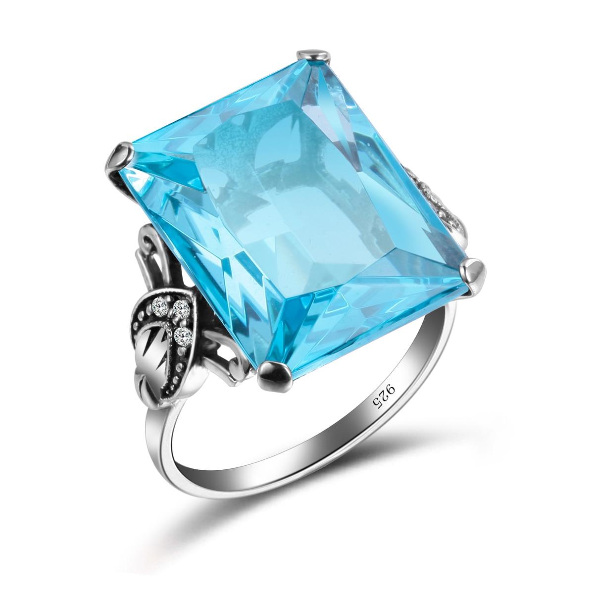100% Authentische 925 Sterling Silber Dazzling Aquamarin Finger Ringe Für Frauen Simulieren Diamant Hochzeit Engagement Schmuck Geschenk 100% Original