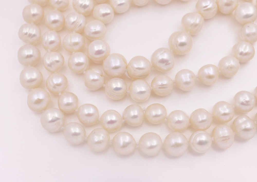 "Купить с кэшбэком 46"" Long 9mm-10mm Oval Natural White Growth Pearl Necklace Jewelry"