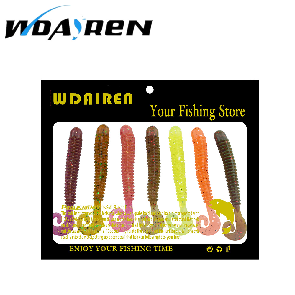 10 pcs/lot 6cm 1.36g soft Worms Bait Silicone Simulation Earthworm Lifelike Flexible Curly Tail Lures 7 color selection FA-383 lifelike earthworm style fishing baits 5 pcs