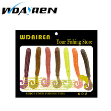 10 pcs/lot 6cm 1.36g soft Worms Bait Silicone Simulation Earthworm Lifelike Flexible Curly Tail Lures 7 color selection FA-383