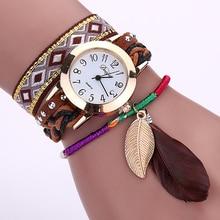 Women's Ethnic Feather Leaves Pendant Braid Watch Bracelet Quartz Wristwatch