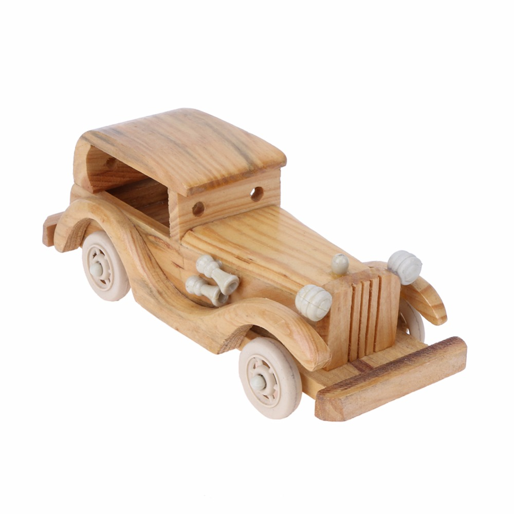 creative retro wooden classic car model children toys wood puzzle