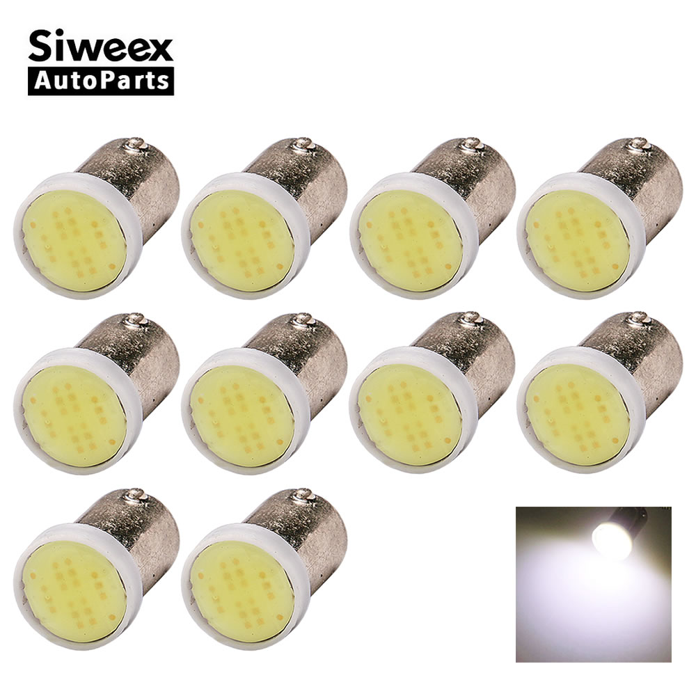 10 Pcs BA9S T4W COB Wedge Side Light Backup License Plate Bulb Indicator Reading Trailer Truck Interior Dome Lamp For Car 12V
