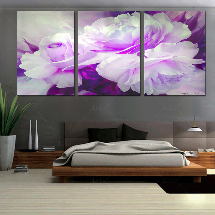 Home decoration flower painting on the wall in the living - Tableau sur toile moderne ...