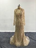 Shine Rhinestone Avondjurken Hoge Hals Illusion Lange Mouw Bling Avondjurken Mermaid Prom Jassen