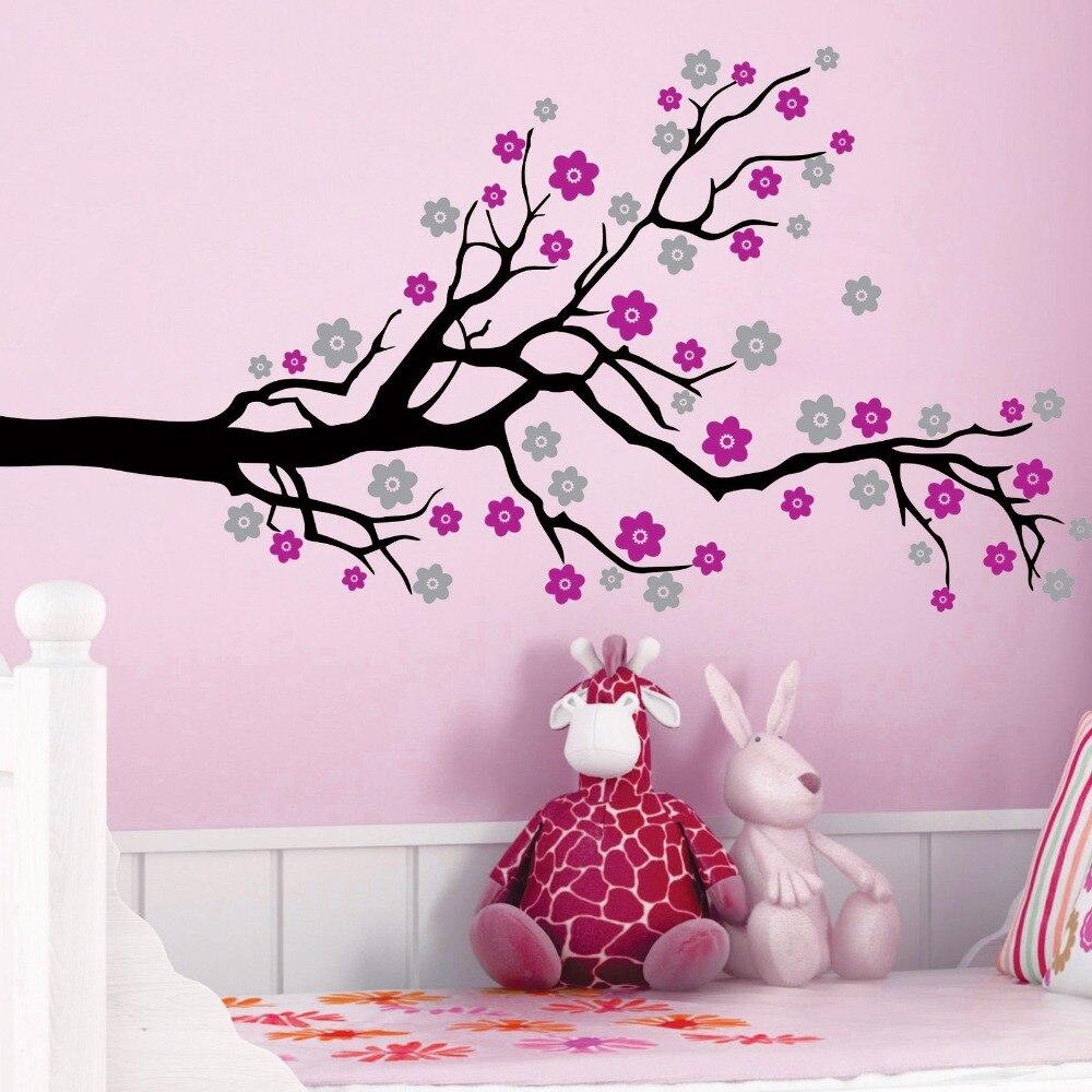 3 color custom BIG SIZE Cherry Blossom Tree Flowers Vinyl Wall Decals Art Decor Mural Kids Room Wall Sticker KW 310