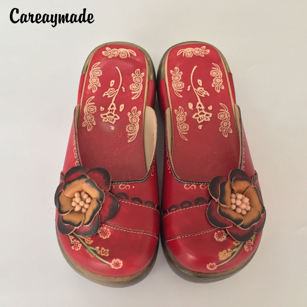 Careaymade-new Folk style Head layer cowhide pure handmade Carved shoes,the retro art mori girl shoes,Casual Sandals 2 colors huifengazurrcs new pure handmade casual