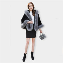 Imitation fox fur grass coat female short autumn winter new fashion hooded shawl cape high quality ladies Ponchos coat DT0151(China)