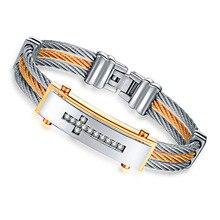 2017 NEW fashion Christian Men bracelet & bangle Three rows of wire Zircon cross Jesus 316L stainless steel Punk men bracelet