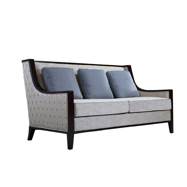 Disegno semplice struttura in legno massello divano in tessuto in ...