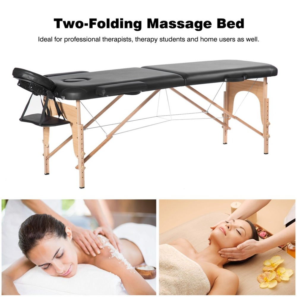 Portable Two-Folding Massage Bed Professional Comfortable SPA Therapy Tattoo Beauty Salon Massage Table Bed With Carry Bag biodynamic craniosacral therapy volume two
