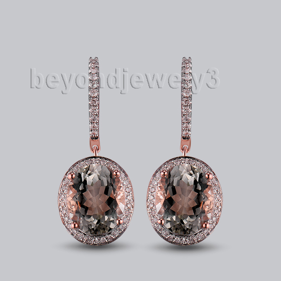 Women Fantastic Vintage Solid 14K Rose Gold Gemstone Diamond Drop Amethyst Earrings Fashion Lady Party Earrings Jewelry