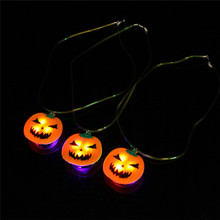 New Creative Halloween Product  Party Props LED Lights Halloween Pumpkin Necklace Light Cool Gifts for Children Friends