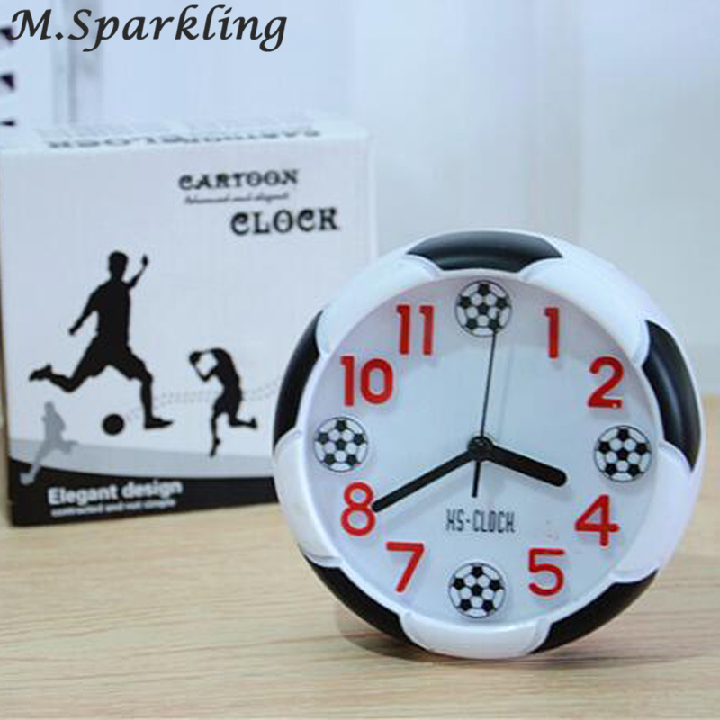 Us 4 76 30 Off New Arrival 2018 Quartz Clocks Creative Watches 3d Real Football Alarm Clock For Kid Children Bedroom Home Decor Gift In Alarm Clocks