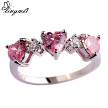 Ring Jewelry Lingmei Heart Wedding-Band Classic Romantic Pink Silver-Color White Size-6