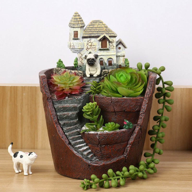 1Pcs New Novelty Creative Castle House Shaped Resin Garden Pot Creative Bonsai Plant Flower Pot For Office Desk Decorations